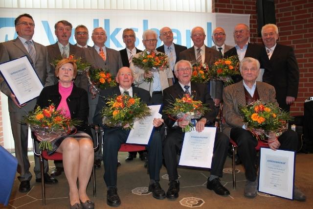Geehrte Mitglieder 2013 Volksbank SChermbeck