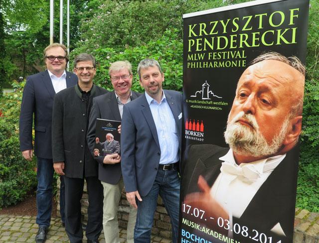 Christian Reichelt, Hermann Borgers, Dr. Rüdiger Schmidt und Dirk Klapsing (v.r.) laden zum Besuch des Konzertes in Hamminkeln am 26. Juli ein. Foto Scheffler