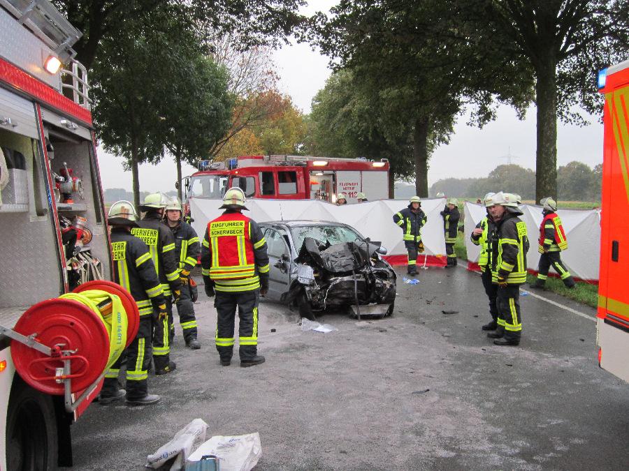 Einsatz der Schermbecker Feuerwehr beim Unfall auf der B 58