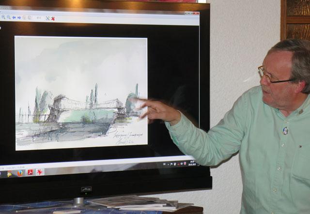 Als Vorsitzender des Turmvereins Damm stellte Ernst-Hermann Göbel die geplante Hängebrücke zwischen Damm und Gartrop vor. Foto Scheffler