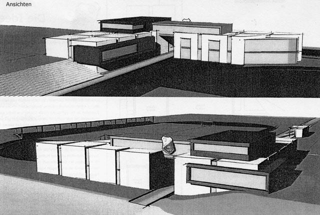 """Die Zeichnung zeigt das geplante """"Abrahamhaus"""". Der untere Teil zeigt die Ansicht von der Straße """"Im Trog"""" aus, der obere Teil die Ansicht von der Stadionseite aus. Repro: Helmut Scheffler"""