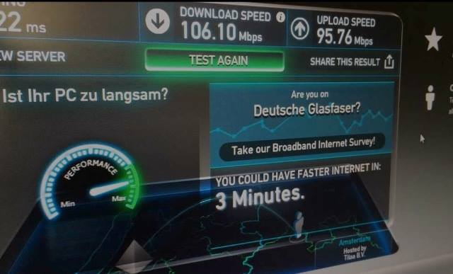 Speedtest mit Deutsche Glasfaser