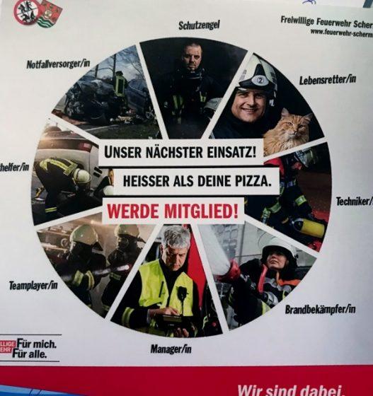 Pizzakartonsaufkleber der Feuerwehr Schermbeck