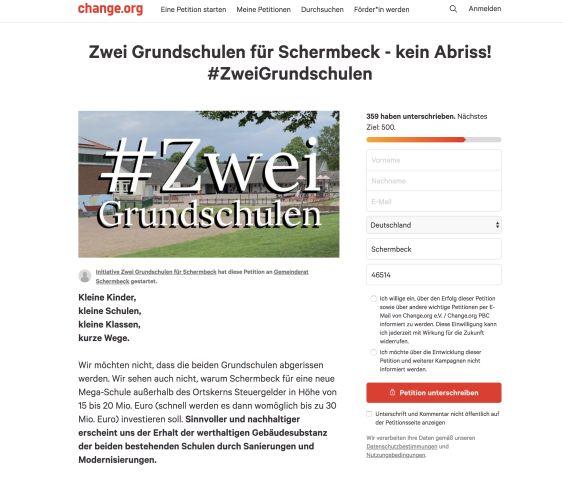 Insbesondere viele Eltern der jetzt eingeschulten Kinder unterstützen die Petition gegen den Abriss der Schulgebäude.