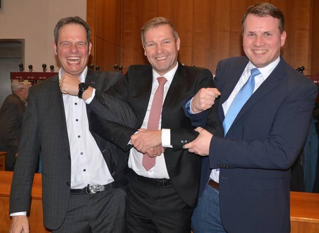 Drei Bürgermeister Andreas Grotendorst, Mike Rexforth und Tobias Stockhoff