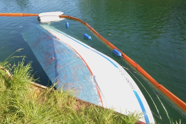 Boot in Gahlen im Kanal untergegangen