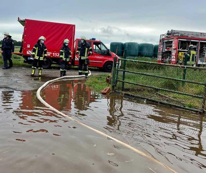 starker Regen Feuerwehr Schermbeck